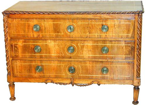 A Fine 18th Century Example of Italian Louis XVI Walnut and Satinwood Commode No. 1581