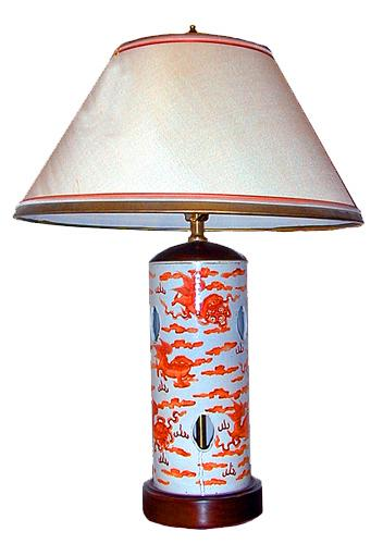 A 19th Century Chinese Porcelain Lamp with Fu Dog