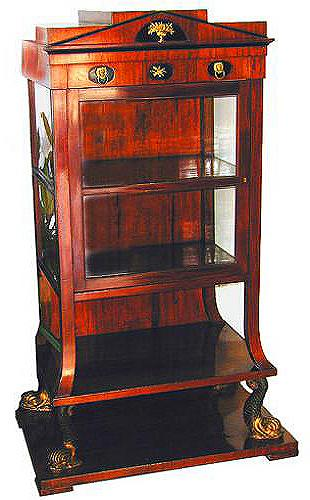 An Exquisite 19th Century Swedish Mahogany and Ebonized Neoclassical Vitrine Cabinet No. 1383