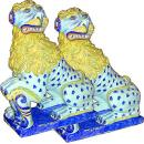 An Exceptional Pair of 18th Century Faience Ceramic Lions