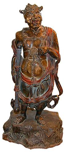 An 18th Century Figural Japanese Warrior Bronze with polychrome finish
