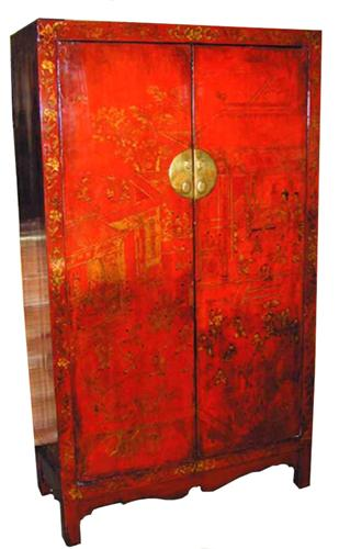 An 18th Century Chinese-Export Red Lacquered Chinoiserie Armoire No. 1515