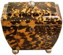 An Unusually Shaped 1820 English Tortoiseshell Tea Caddy