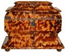An English Regency Tortoiseshell Tea Caddy of Unusual Sarcaphogus Shape