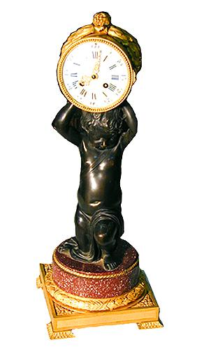 A 19th Century French Empire Patinated and Gilt-Bronze Clock