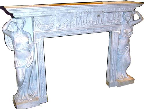 A Finely Carved Italian White Marble Mantel