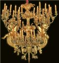 A Rare 18th Century Italian Palazzo 68-Light Giltwood Chandelier