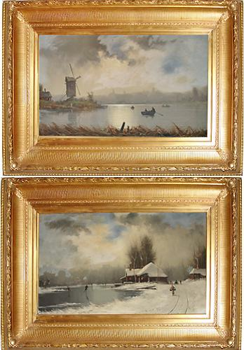 A Pair of 19th Century Dutch Oil on Canvas Winterscapes	signed by Danish Artist Nils Hans Christiansen (1850-1922)