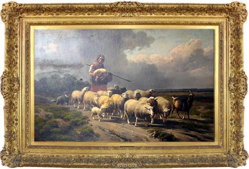 A Mid 19th Century Belgian Oil on Panel by Eugene Joseph Verboeckhoven