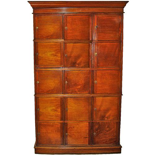 A Fifteen Door 18th Century English Mahogany Apothecary Cabinet