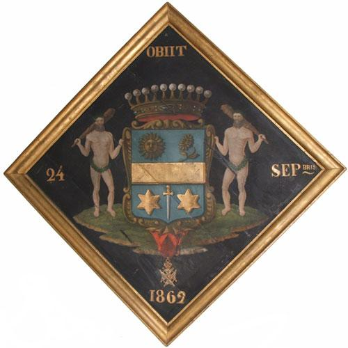 A 19th Century Armorial Crest Painting on Panel