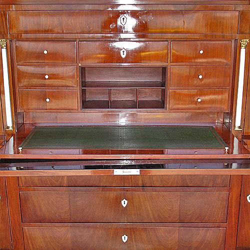 A 19th Century German Biedermeier Mahogany Breakfront Bureau