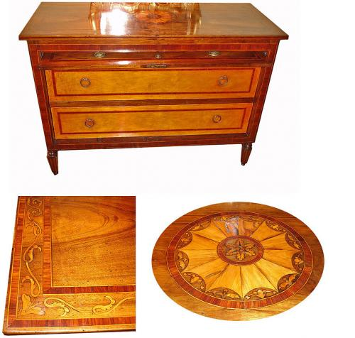 A Highly Unusual 18th Century Italian Walnut Neoclassical Marquetry Commode No. 3099