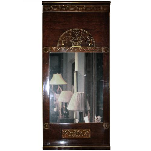 A 19th Century Swedish Mahogany and Brass Inlay Mirror