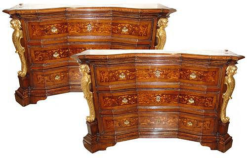 A Pair of 17th Century Large Scale Concave Baroque Marquetry Commodes No. 3033