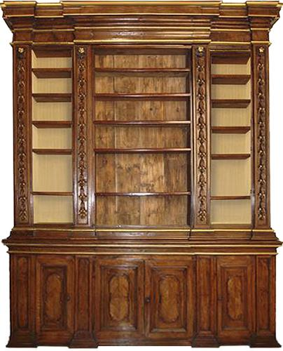 A Monumental 17th Century Walnut and Parcel Gilt Tuscan Palazzo Archival Bookcase No. 3170