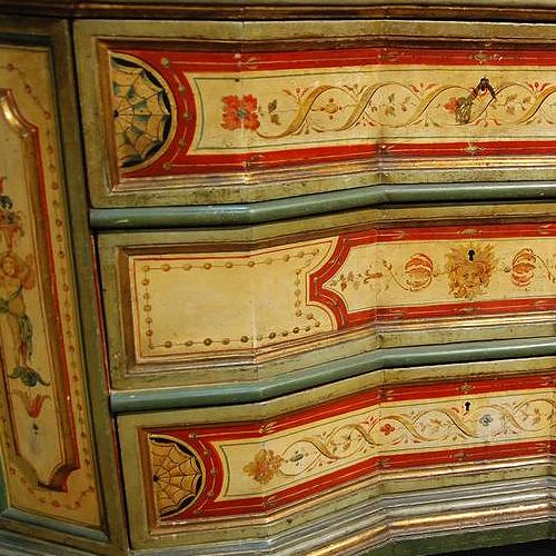 A Pristine 18th Century Venetian Polychrome Concave Block Front Commode Credenza No. 2437