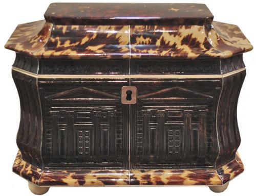 An Exceptional and Rare English Regency Pressed Tortoiseshell Tea Caddy