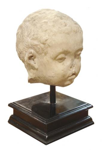A 200 A.D. Roman Marble Portrait Head of a Child