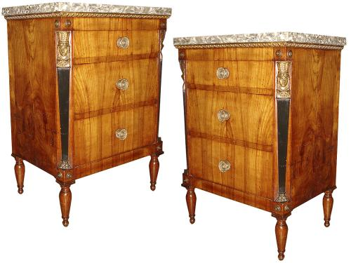 A Pair of Late 18th Century Neoclassical Parcel-Gilt and Ebonized Walnut Bedside Tables No. 3231