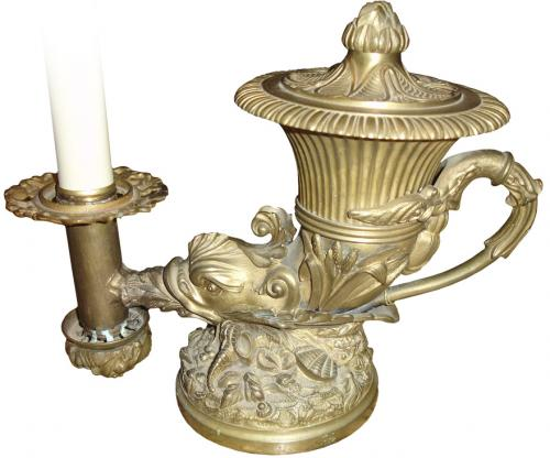 A 19th Century Brass French Oil Lamp