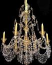 A 19th Century 6-Light Genovese Parcel Gilt and Crystal Chandelier