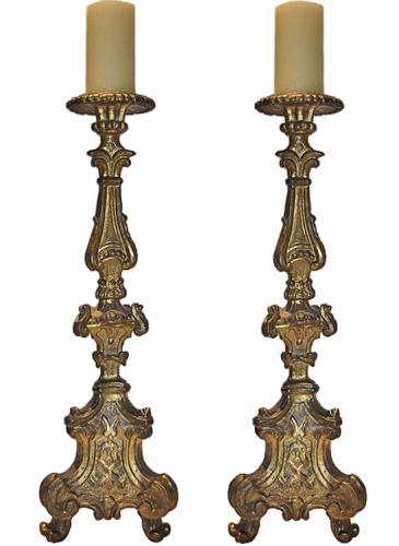 An Impressive Pair of 18th Century Carved Giltwood Rococo Pricket Candlesticks