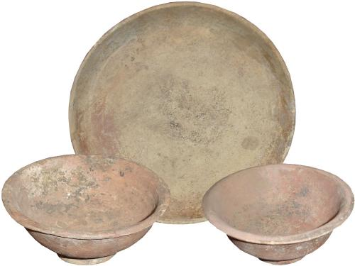 A Set of Two Etruscan Terracotta Bowls and a Plate