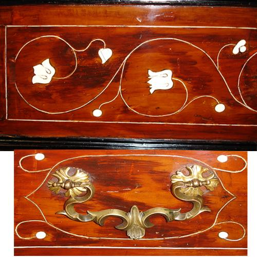 A Pair of Walnut, Bone, and Ebonized Late 17th Century Italian Louis XIV Concave Block Front Commodes No. 3460