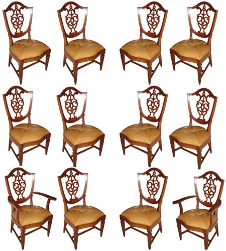 A Rare Set of Twelve 18th Century Italian Walnut Dining Chairs