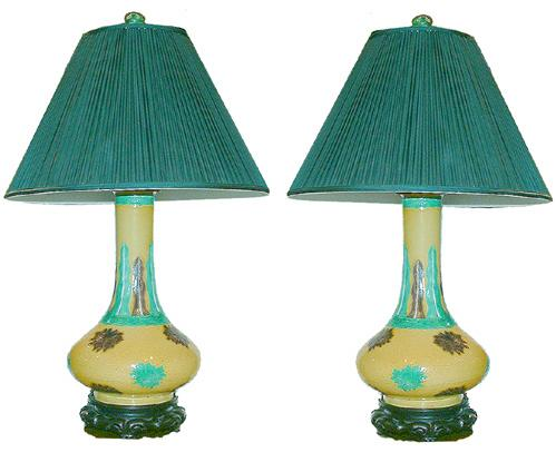 A Pair of Lamps Comprised of 19th Century Chinese Glazed Crackleware Urns
