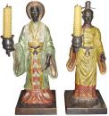 A Pair of 19th Century Oriental Bronze Decorative Candlestick Figurines