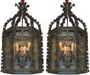 A Pair of 19th Century Spanish Wrought Iron Lanterns