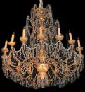 A Magnificent 18th Century Genovese Parcel-Gilt and Crystal 16-light Chandelier
