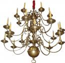 A Large Scale Three Tiered Early 19th Century Dutch Brass Chandelier