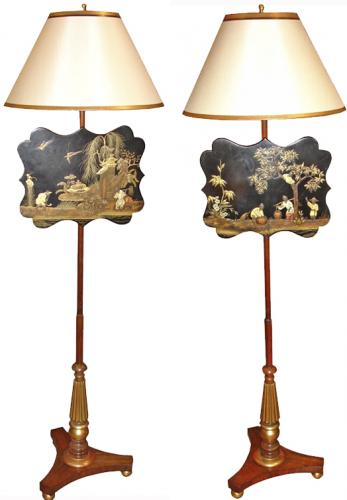 A Pair of 19th Century Chinoiserie and Parcel Gilt and Polychrome Fire Screens