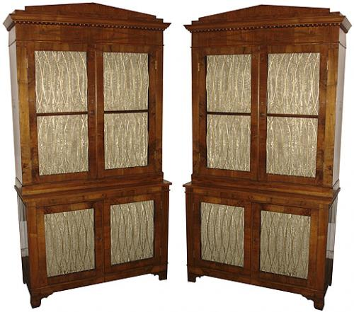 A Pair of 19th Century Mahogany Italian Neoclassical Empire Double Bookcases No. 3680