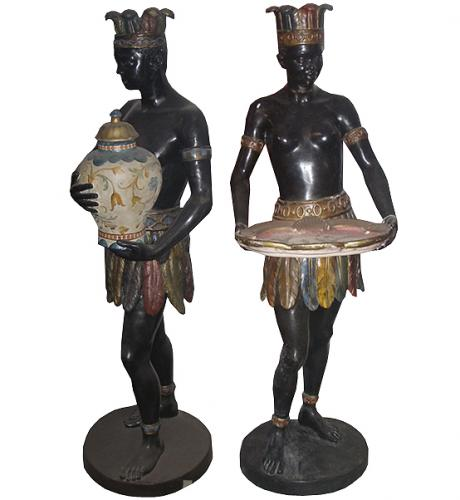 A Palazzo-Scaled Pair of 18th Century Polychrome and Parcel Gilt Venetian  Blackamoors