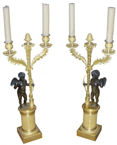 A Pair of 19th Century Italian Bronze Ormolu Candelabra