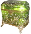 A 19th Century Chartreuse Bohemian Glass Cofferette