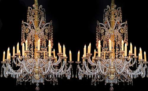 A Rare 18th Century Pair of 21-Light Genoese Parcel Gilt and Crystal Chandeliers