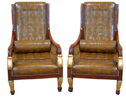 An Unusual Harlequin Pair of Italian Empire Mahogany and Parcel Gilt Arm Chairs