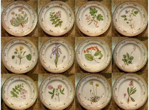 A 20th Century Set of Flora Danica Botanical Designs Dinnerware