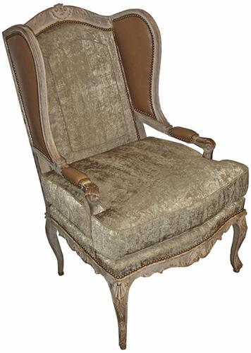 A Louis XV Fauteil Polychrome Wing Chair