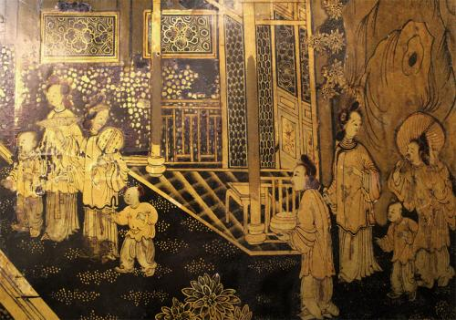 An Single 18th century English Chinese Export Lacquered Screen Panel