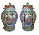 A Monumental Pair of 19th Century Chinese Urns with Lids
