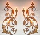 A Dramatic Pair of Gilded Carved Wood and Metal Wall Appliques