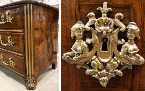 A French Transitional Régence-Louis XV Rosewood Parquetry Commode No. 3965