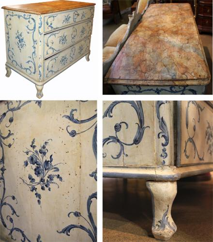 An 18th Century Florentine Three-Drawer Polychrome and Faux Marble Commode 4013