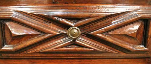An Early 18th Century Baroque Florentine Geometric Carved Walnut Credenza No. 3999
